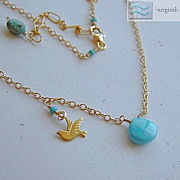 Turquoise Sleeping Beauty Dove bird charm briolette 14k gold filled necklace