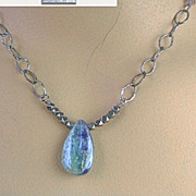 Kyanite solitaire briolette antiqued vintage look Silver Camp Sundance necklace