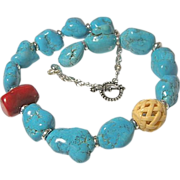 Turquoise bold chunky nuggets Camp Sundance necklace Coral carved bone Sterling Silver