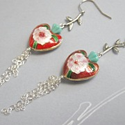 Holiday enamel branch flower heart earrings