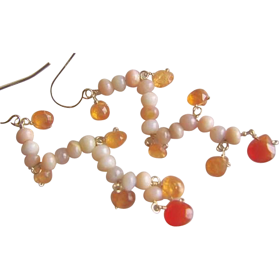 Pink Peruvian Opal Mandarin Garnet Carnelian Garland earrings