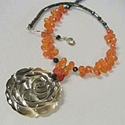 Carnelian orange rust pumpkin briolettes carved rose Camp Sundance necklace
