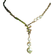 Peridot Pearl asymmetrical necklace Camp Sundance Silver bridal toggle