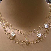 SALE Petal Pearls peach pink freshwater Keshi circle links 14k Gold fill necklace