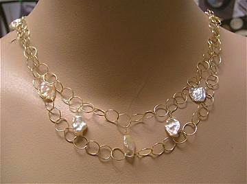 Petal Pearls peach pink freshwater Keshi circle links 14k Gold fill necklace