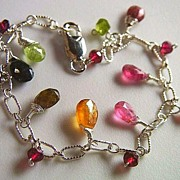 Rainbow Tourmaline briolettes candy colors charms Sterling Silver bracelet