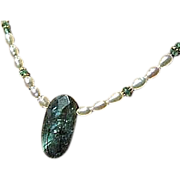 SALE Huge Labradorite white Pearl necklace Apatite Camp Sundance