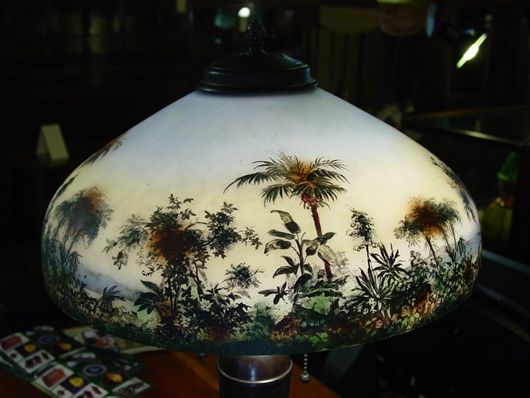 Signed Pittsburgh painted table lamp--Desert oasis