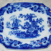 Large Flow Blue platter Sobraon pattern 16 inches