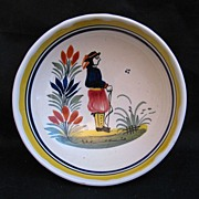 Quimper Sujet Ordinaire Three-Footed Bowl with Breton