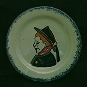 Unusual Green Quimper Child's Dish with Breton