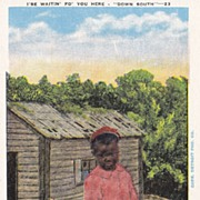 "Vintage Black Americana ""Down South"" Postcard - I'se Waitin'"