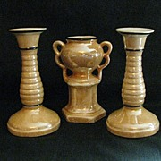 Vintage Czech Peach Luster Vase and Candlesticks