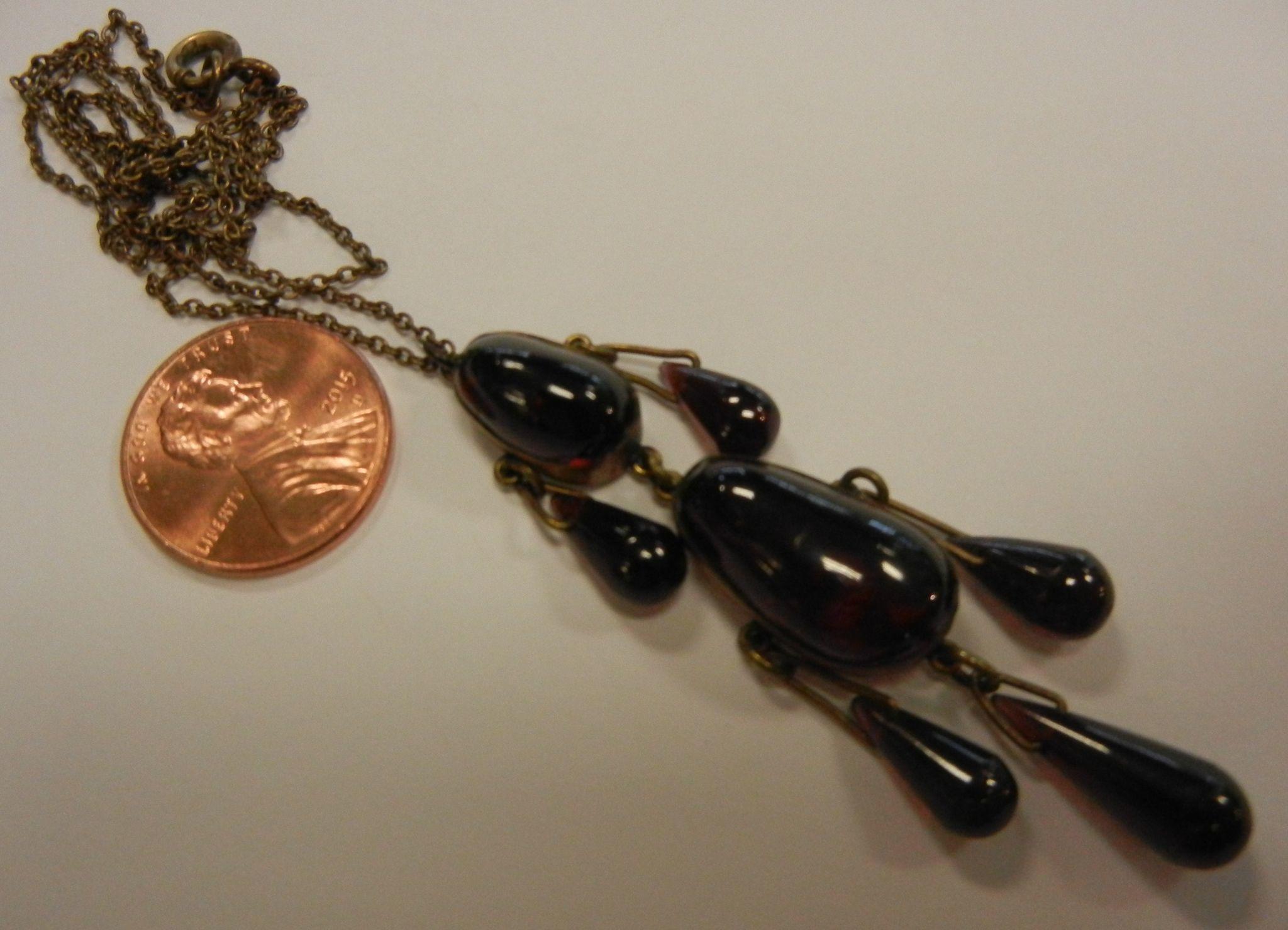 antique teardrop natural garnet pendent from sylviasstore