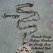French Ivory Foliate Pendant On Lacy Celluloid Linked Chain