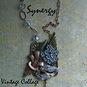 Forget-Me-Not Collage Pendant Necklace With Puffy Sterling Heart Dangle