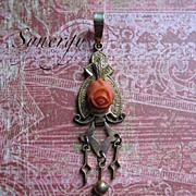 Victorian Gold Fill Drop Pendant With Coral Rose