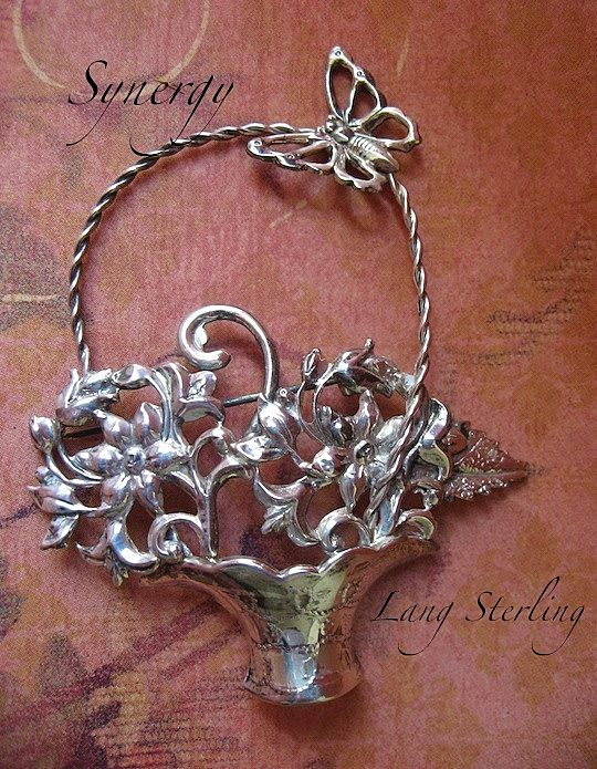 LANG Sterling Flower Basket Brooch