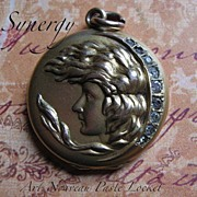 Art Nouveau Lady Repousse Locket With Paste Crescent Moon