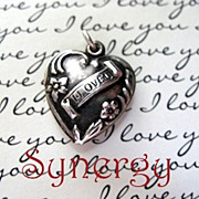 "1940's Sterling Puffy Repousse Heart Charm ""I Love U"""