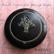 Art Deco Bakelite Compact With Applied Marcasite Flower Basket
