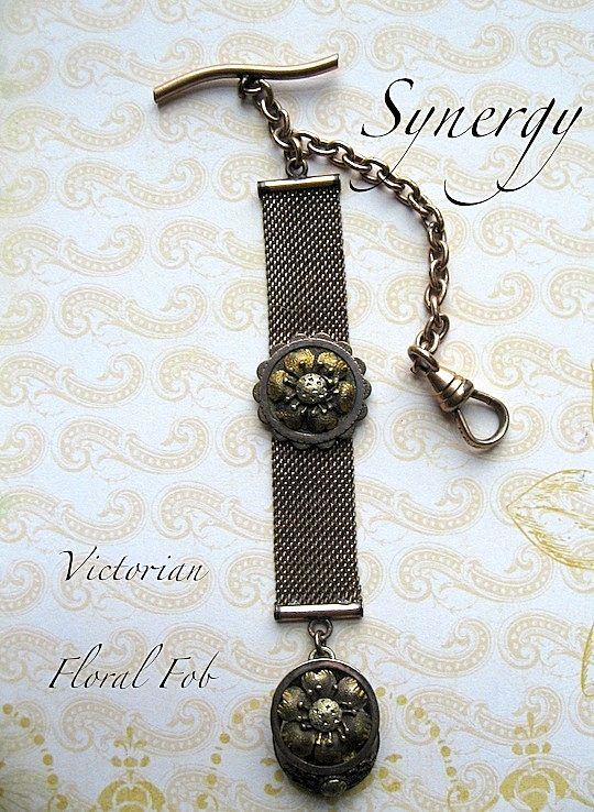 Victorian Mesh Watch Chain With Floral Etruscan Fob R & F Hallmark
