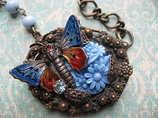 Vintage Artisan Assemblage Enameled Butterfly and Czech Pendant Necklace