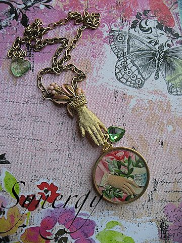 Vintage Artisan Floral Optical Lens Collage Pendant Necklace