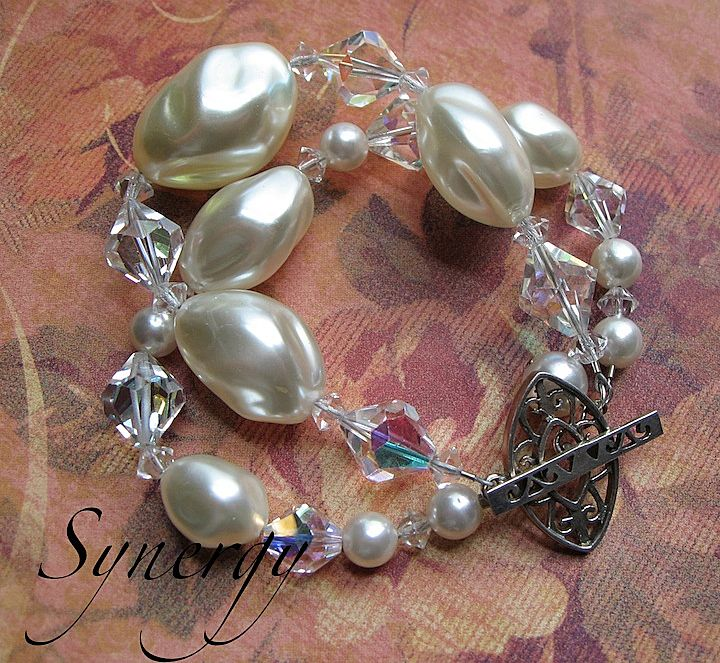 Vintage Chunky Pearl and Crystal Beaded Artisan Bracelet