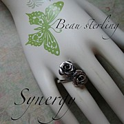 Double Rose Ring Marked Beau Sterling