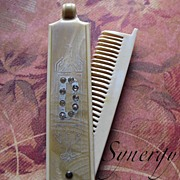 "Art Deco Celluloid Comb Case With Rhinestone Initial ""D"""