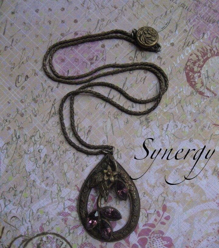 Czech Brass Necklace With Amethyst Rhinestone Navette Pendant
