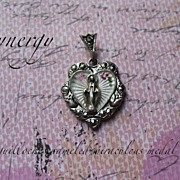 Guilloche Enameled Sterling Miraculous Medal With Marcasites