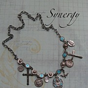 SOLD Sterling Enameled Artisan Faith Necklace With Dangling Charms