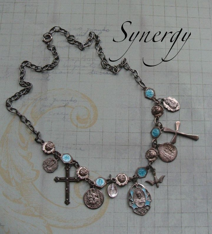 Sterling Enameled Artisan Faith Necklace With Dangling Charms