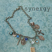Vintage Artisan Faith Charm Necklace With Grace Pendant