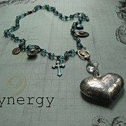 Vintage Religious Charm Crystal Necklace With Puffy Heart