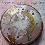Rebekah IOOF Pink Mother Of Pearl Compact With Rhinestones