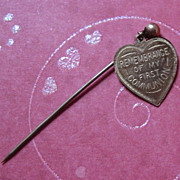 Remembrance of My First Communion Heart Medal on Stick Pin