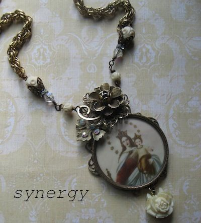 Vintage Artisan Collage Faith Necklace Featuring Queen of Heaven