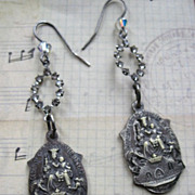 Artisan Faith Earrings With Rhinestone and Our Lady Mount Carmel Medallions