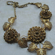 Floral Filigree Bib Necklace With Portugal .833 Mark