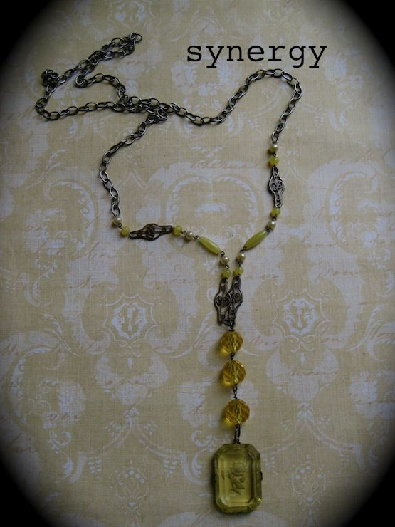 Czech Intaglio Rose Yellow Crystal Pendant Necklace With Satin Glass Accents