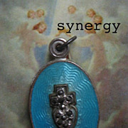 SOLD Guilloche Enameled Sliding Sterling Miraculous Medal With Marcasite Sacred Heart