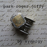 Park Roger Jiffy Cufflinks Silver Tone With Gold Tone Accents