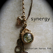 SOLD Victorian Bubble Glass Horse Fob Charm Necklace