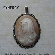 .800 Blessed Virgin Mary Shell Cameo  Pendant With Marcasites