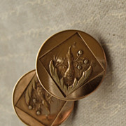 Aesthetic Movement Peacock Motif Cufflinks Patent 1880