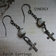"Artisan ""Faith"" Mother Of Pearl With .925 Cross Earrings"