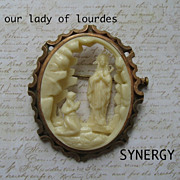 Our Lady of Lourdes French Celluloid Brooch in Brass Setting